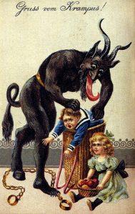 Postikorttikuva, jossa Krampus pistää lapsia säkkiinsä