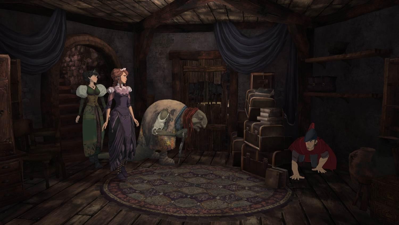 Pelin keskeisimmät hahmot yhdessä kuvassa. Vasemmalta alkaen prinsessat Val ja Neese, noita Hagatha ja laatikoiden takana kuningas Graham.