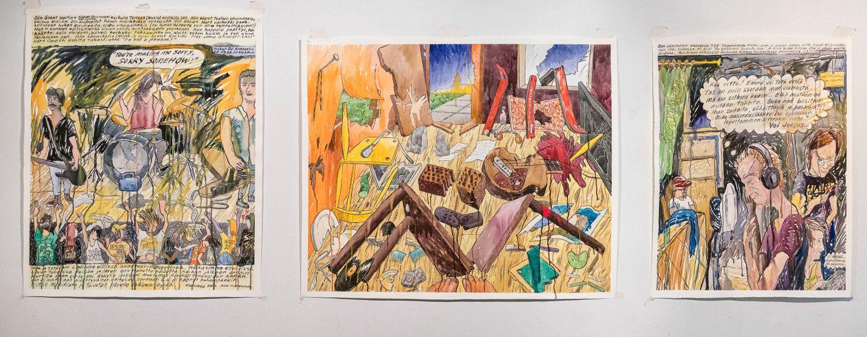 """""""Sorry Somehow"""", 2016, akvarelli paperille, 90x110 cm. """"Kaikkiko rikki"""", 2016, akvarelli paperille, 120x95 cm. """"Epäilyä Kummelitalossa"""", 2016, akvarelli paperille, 85x100 cm."""